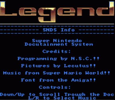 Legend - SNDS Info, Spike McFang Walkthru (PD)